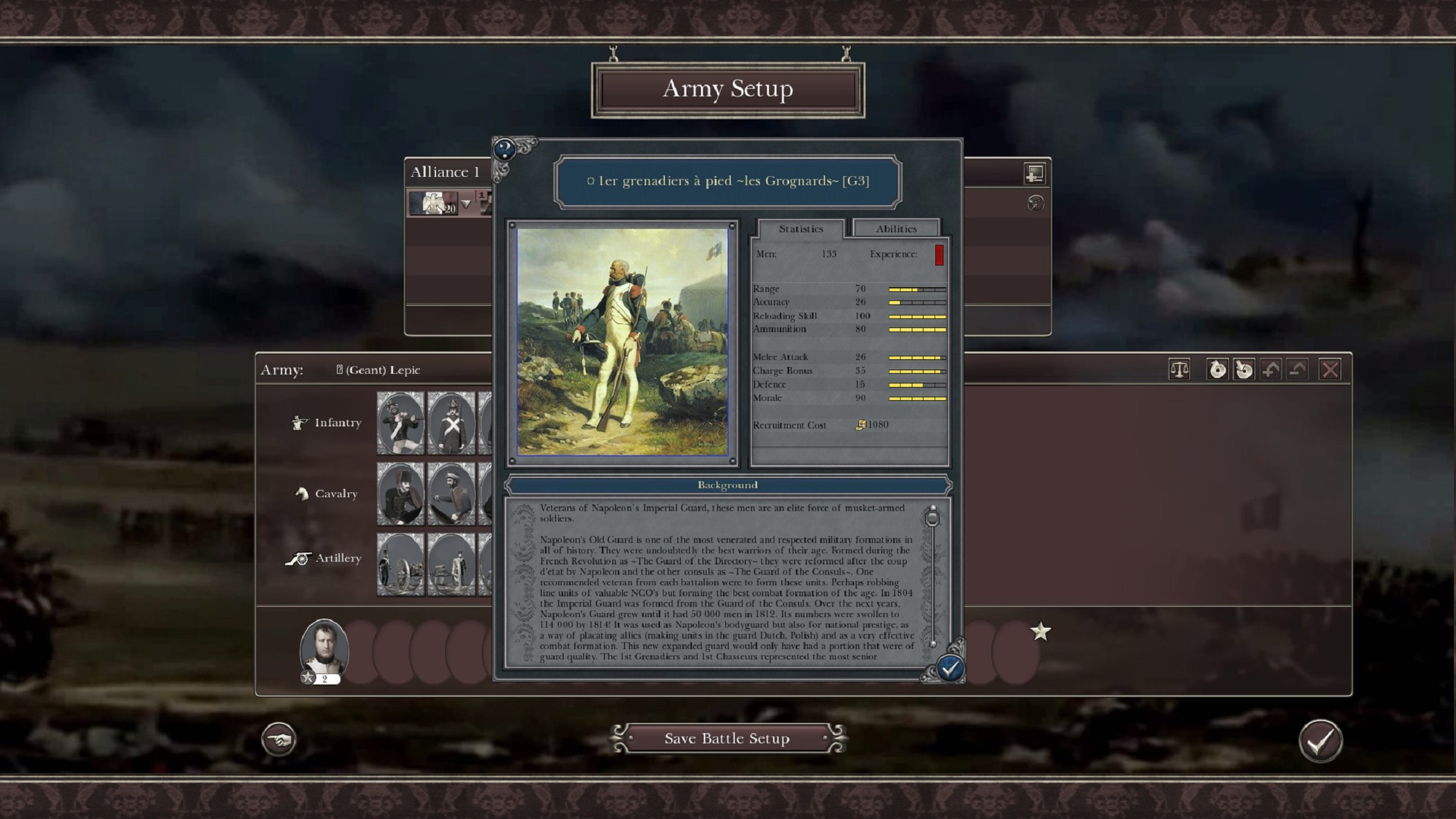 Napoleonic: Total War III ~ NTW3 ~ Gameplay 1er grenadiers à pied ~ les Grognards unit card display screen