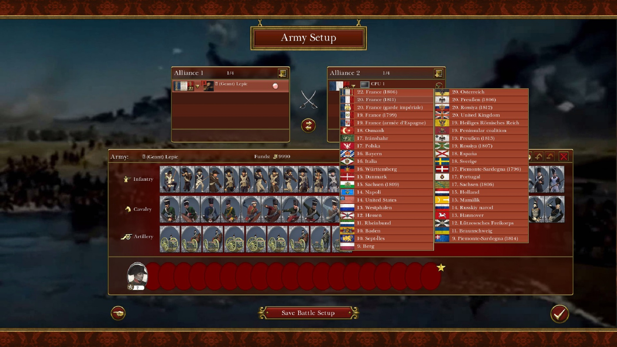 Napoleonic: Total War III ~ NTW3 ~ Gameplay User pre-battle interface factions and units selection screen