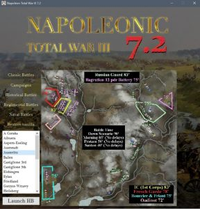 Napoleonic: Total War III ~ NTW3 ~ Gameplay Napoleons Eagles launcher menu interface for Historical Battles HB's