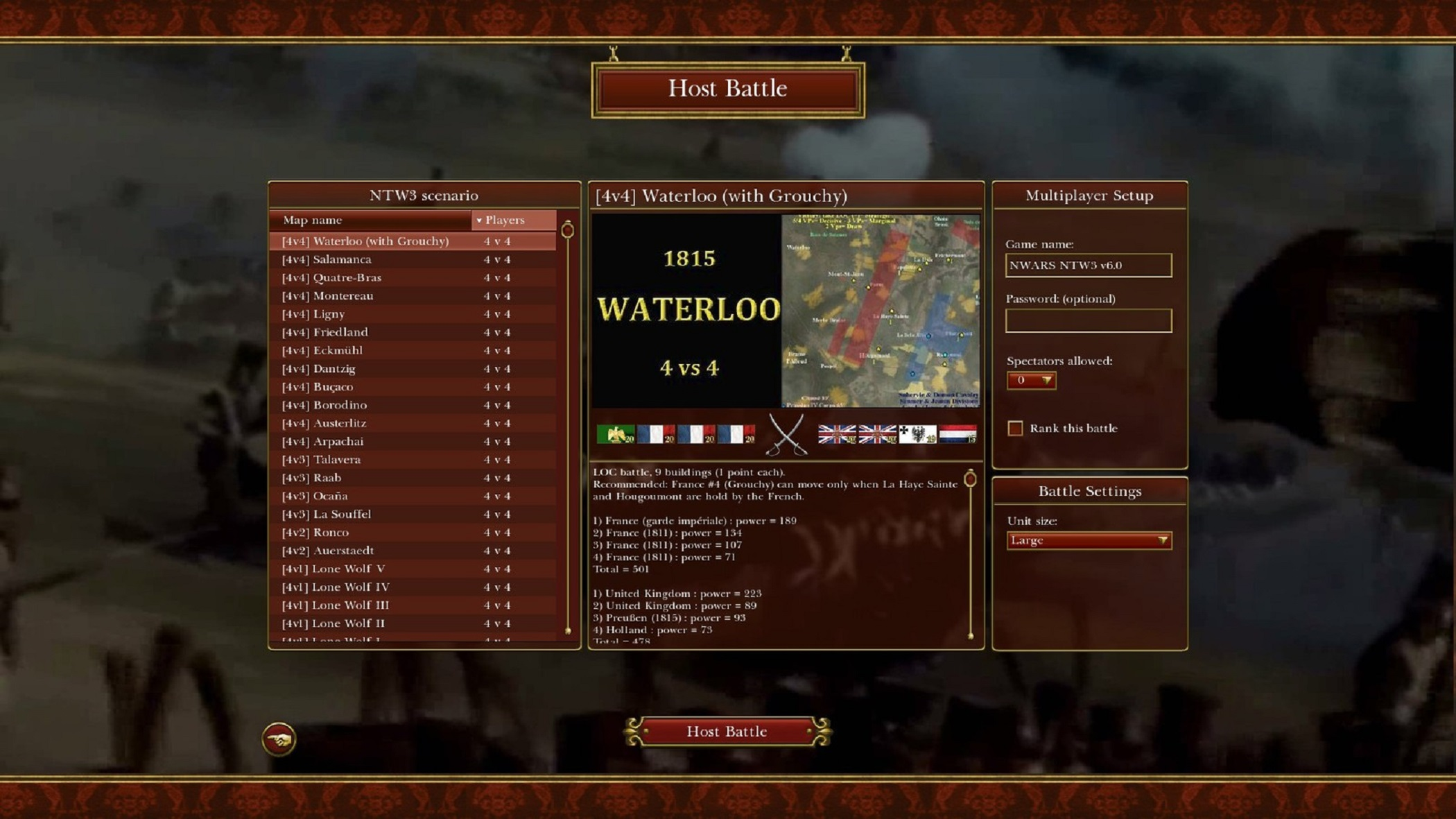 Napoleonic: Total War III ~ NTW3 ~ Gameplay Waterloo 1815 4vs4 Scenario Battle Multiplayer loading screen option